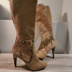 Calvin Klein Brown Suede Size 10 Heel Boot Snake